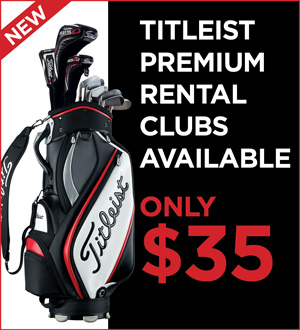Graphic promoting Titleist Premium Rental Clubs for