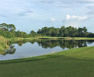 View of a pond on the course at The Majors Golf Club
