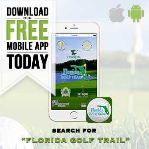 Graphic promoting Florida Golf Trail free mobile app